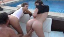 sexyRia und MaryWet vom Hotelgast am Pool gefickt