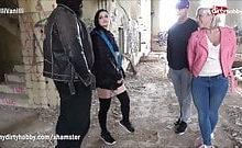 LilliVanilli, LeahObscure und Alissa Noir Outdoor Gruppensex